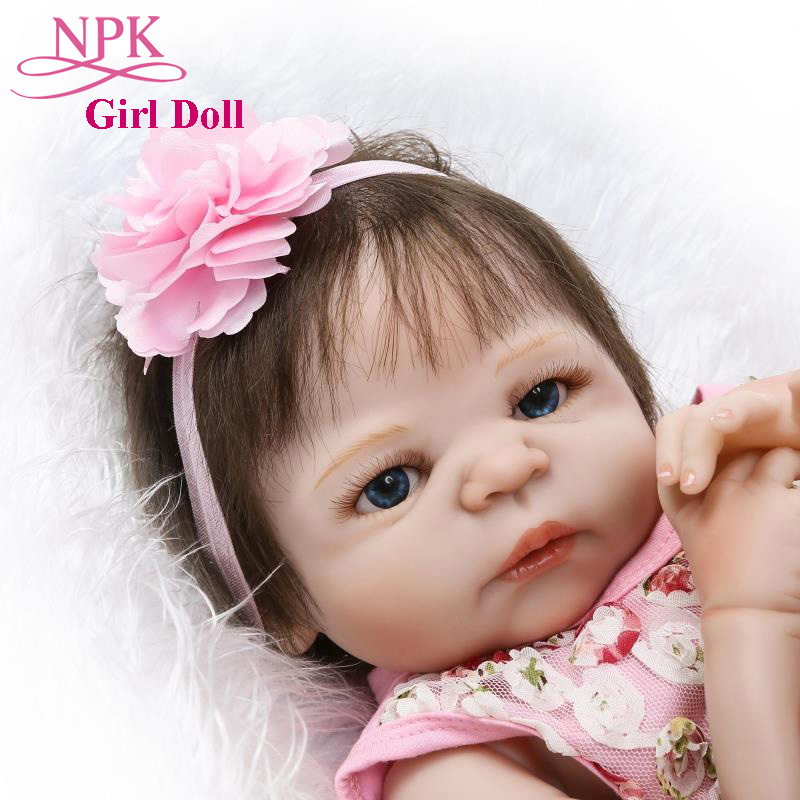 Adorable NPK 22 57CM Full Silicone Baby Girl Doll Lifelike Bebes Reborn Doll In Cute Pink