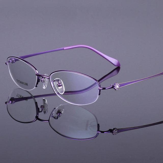 2015 Óculos De Titânio puro Frame Ótico Metade Aro Óculos De Leitura Mulheres óculos de Miopia Óculos de Computador Espetáculos Nova Flor