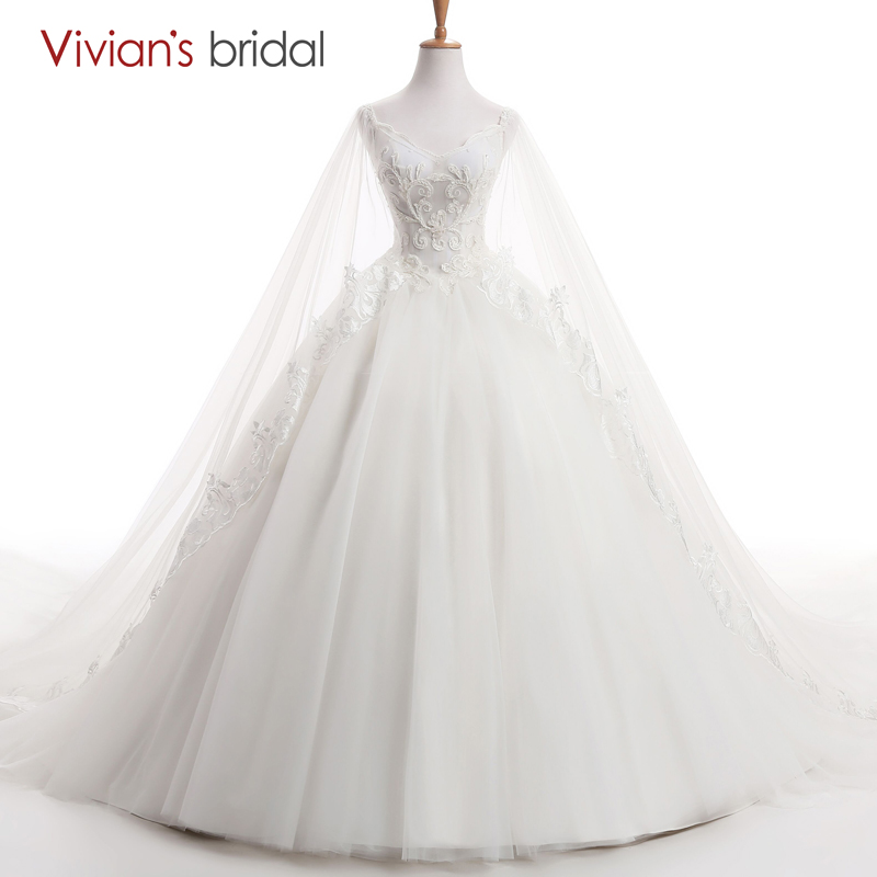 Vivian's Bridal Beaded Spaghetti Straps Brudklänningar V Neck Cape Princess Bröllopsklänning Ball Kappa med Chapel Train AS500-04
