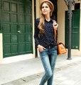 2016 новинка лето женский женщин рубашки хлопка свободного покроя известный горошек с длинным рукавом ретро мода рубашки топы черный