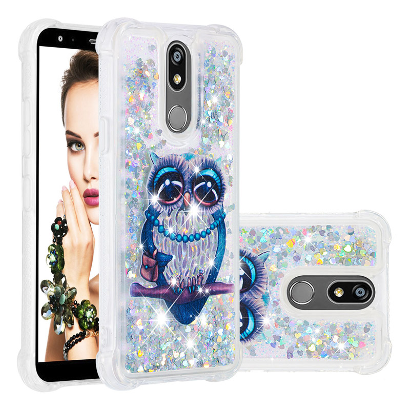 3D Dog Owl Liquid cases For LG K12 Plus Case For LG K40 Dynamic Glitter Silicone quicksand phone Cover <font><b>K12Plus</b></font> Funda image
