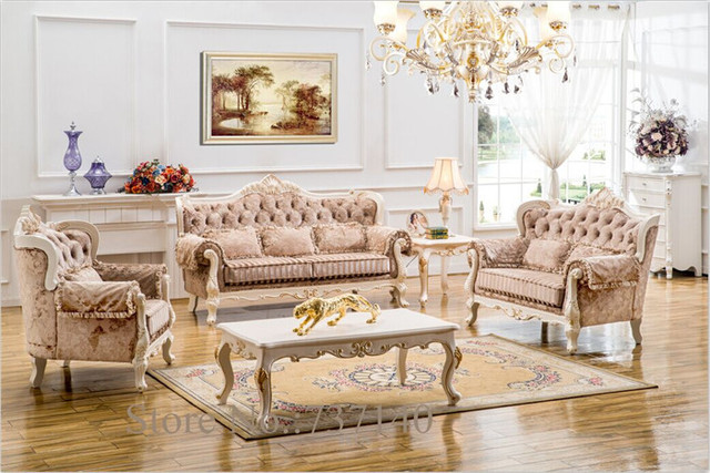 Hot Sell Antique Sofa Set Solid Wood Sofa Living Room Leather Sofa European  Style Leather Sofa