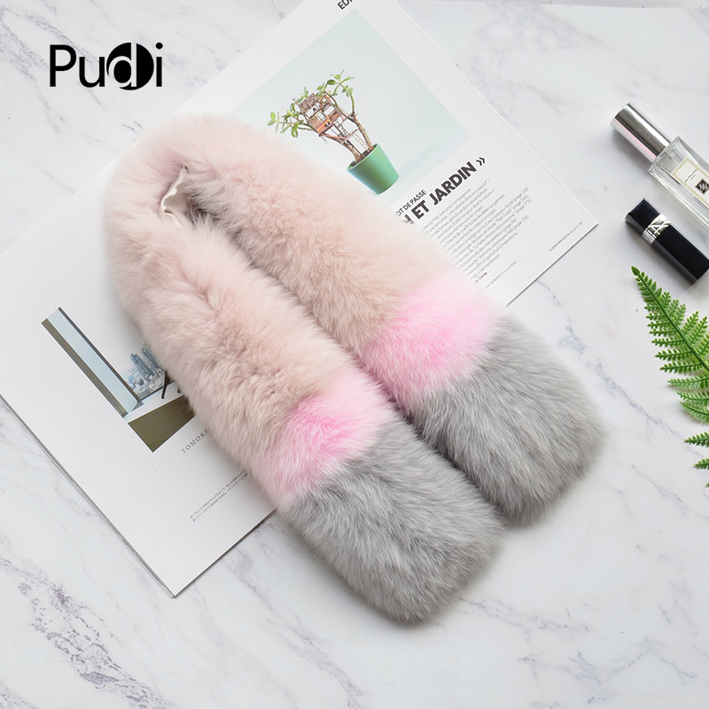 Pudi SF808 woman real fox fur scarf 2018 new brand girl genuine fox fur scarves wrap shawl pink grey color