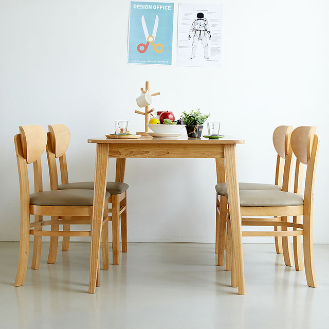 Ha Wusi New Rubber Wood Frame Wood Color Combination Dinette Table And Four Chairs  Rubber Wood