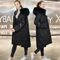 Maternity Outerwear Jackets with Hat Fur Collar Long Loose Hooded Fashion Thicken Down Coat for Pregnant Women Pregnancy Coats