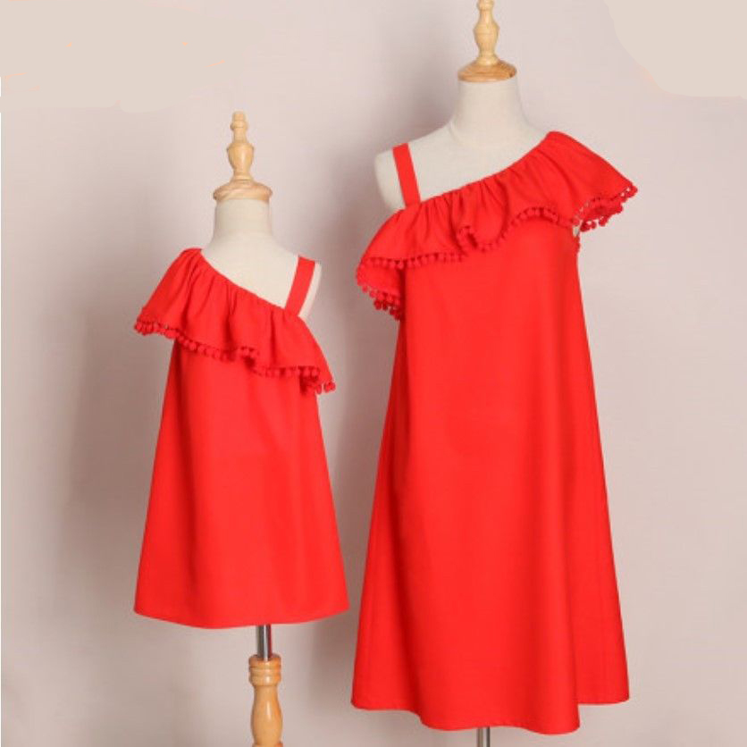 Mother and Daughter Dresses family look matching Outfits Mom Kids Girls Ruffled Dress Boho Beach Party Pageant Vestidos meisjes family matching outfits kids girls and mom clothes floral print dress mom girls pleated party skirts mother and daughter dresses