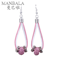 MANBALA Fashion Ladies Rhinestone Earrings Classic High Quality Crystal Earrings With Big Hole Beads For Women