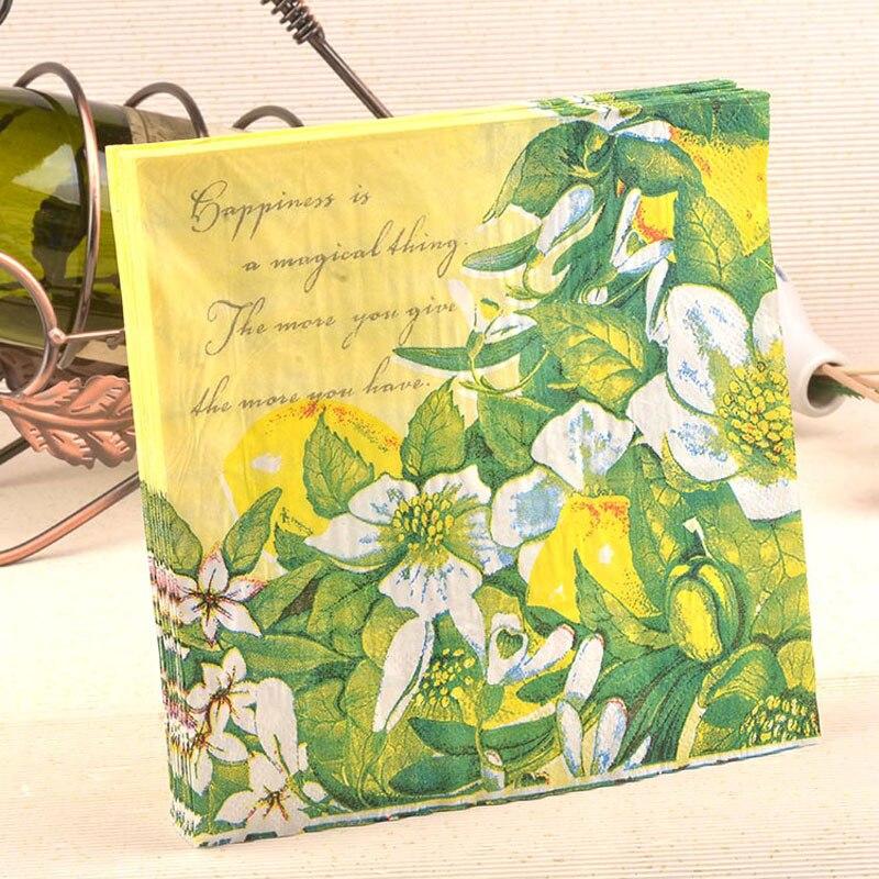 Papel de la boda flores de primavera Decoupage festivo y fiesta servilletas de t