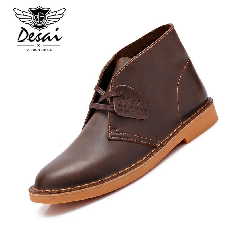 Desai Brand Men Desert Boots Genuine Leather Ankle Boot British Men Casual Shoes Tooling Boot Autumn Winter Fur Chaussure Homme
