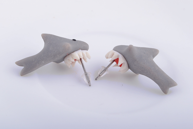 3b79ba1a3 New 100% Handmade Polymer Clay Cute Shark Earrings Ear Stud jewelry brincos  Free Ship x 1Pair-in Stud Earrings from Jewelry & Accessories on  Aliexpress.com ...