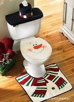 2016 Snowman Toilet Seat Cover Rug Bathroom Mat Set Padded Christmas Toilet Seat Covers Christmas Decorations