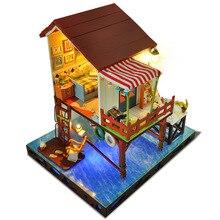 Wood Dollhouse Furniture Kit Miniature Home Decoration Seaside Retro Cabin DIY Doll House Puzzle Toy Birthday Xmas Gift