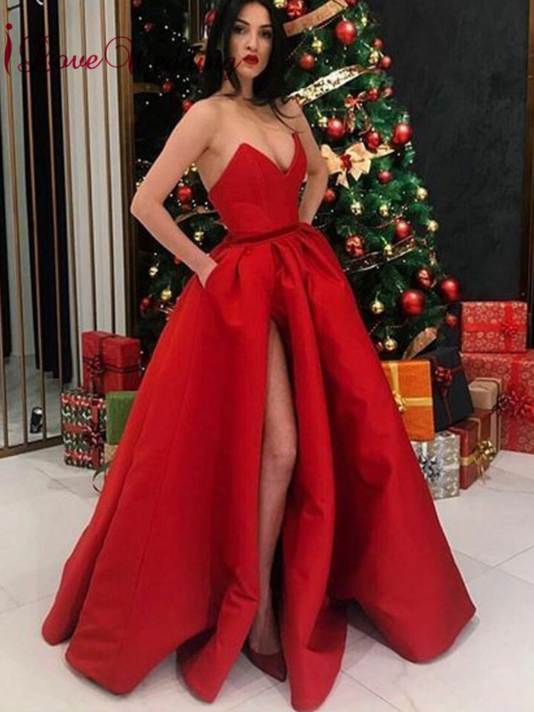 iLoveWedding Simple Design 2019 Deep V Neck Red Satin Prom Gown High Slit Floor Length Formal