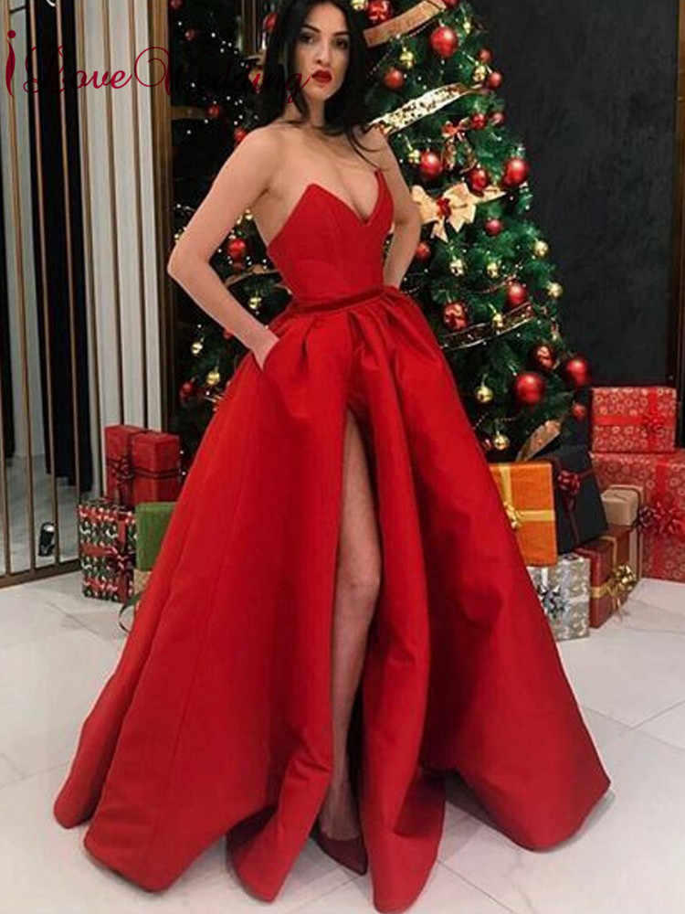 36bcf469 iLoveWedding Simple Design 2019 Deep V Neck Red Satin Prom Gown High Slit  Floor Length Formal