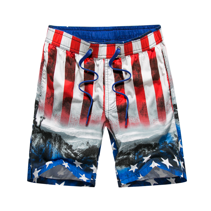 2018 New beach   shorts   men brand flag printed outdoor water sports   shorts   bermuda surf   shorts     board     shorts     short   de bain homme