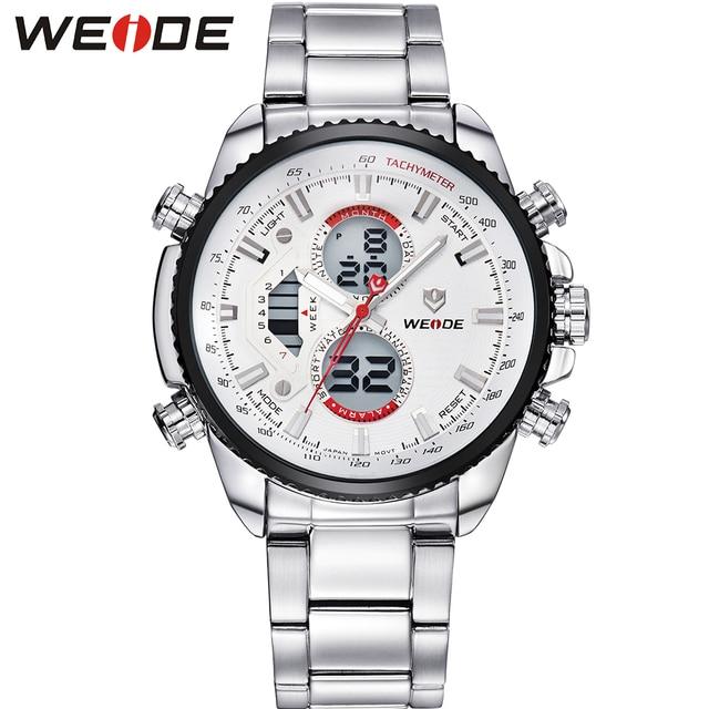 WEIDE Luxury Brand Silver Stainless Steel Watch Men Round Case Quartz Movement Wrist Watch With Alarm Gifts For Men