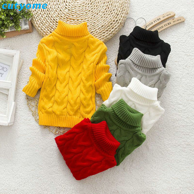 Casual niñas cuello alto suéter del Color del caramelo niños patrón ...
