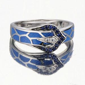 Image 3 - Anel de cobra de prata para as mulheres azul pedra azul artesanal esmalte anéis puro 925 prata esterlina moda jóias