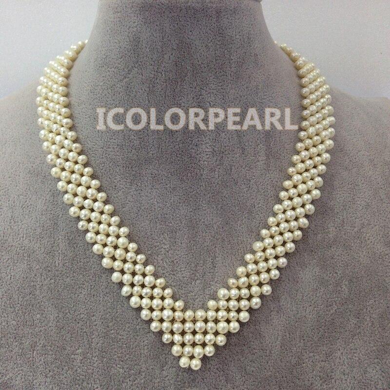 WEICOLOR spécial Multirow en forme de coeur tressé blanc véritable naturel perle d'eau douce collier de bijoux de mariage