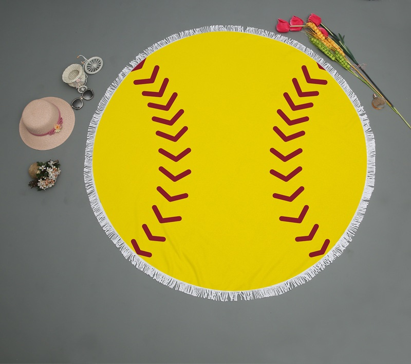 Beach Blanket Volleyball: Round Tassel Baseball Softball Beach Towel Microfiber