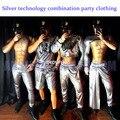 Sexy Silber Tech Stil Partei Sexy Kostüme Bar Nachtclub ds Männer Leistung Kostüme zeigen thema party kleid auf