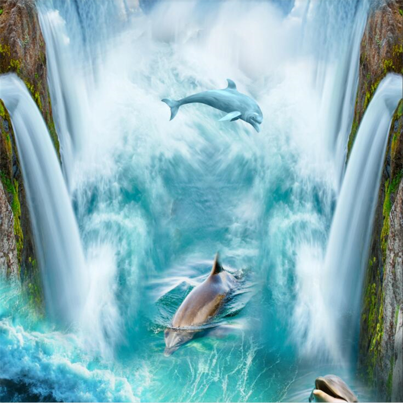 Beibehang Porpoise waterfall high definition 3D floor background custom large wall painting wear resistant and waterproof film