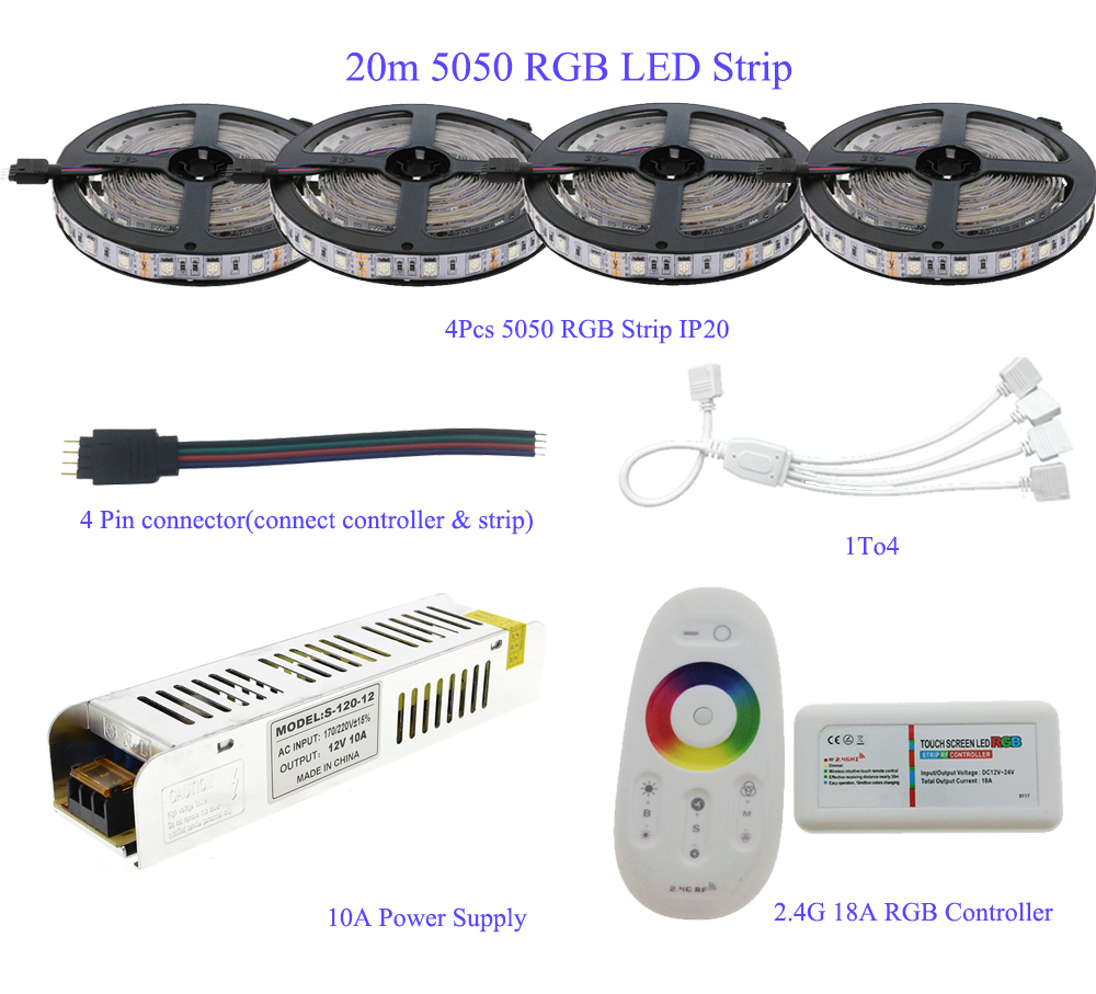 5M/10M/15M/20M 5050 RGB LED Strip Set IP20/IP65 Waterproof With 2.4G Touch Screen RF Remote Controller+12V Power Supply Adapter dc 12v rgb rgbw led strip 5050 ip65 waterproof flexible led light 2 4g rf remote controller power adapter kit 20m 15m 10m 5m