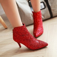 Women Boots Winter Shoes High Heels Sequin Ankle Boots Pointed Toe Casual  Shoes Woman Plus Size 3e0578519a77