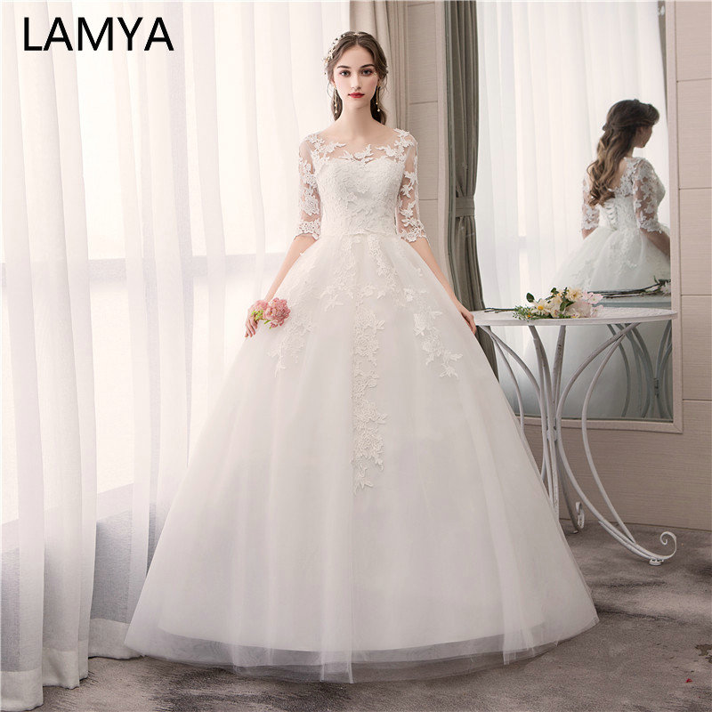 LAMYA Vintage Ball Gown Bridal Dress Muslim Plus Size Wedding Dress Princess With Lace Sleeve Vestido De Noiva Real Pictures