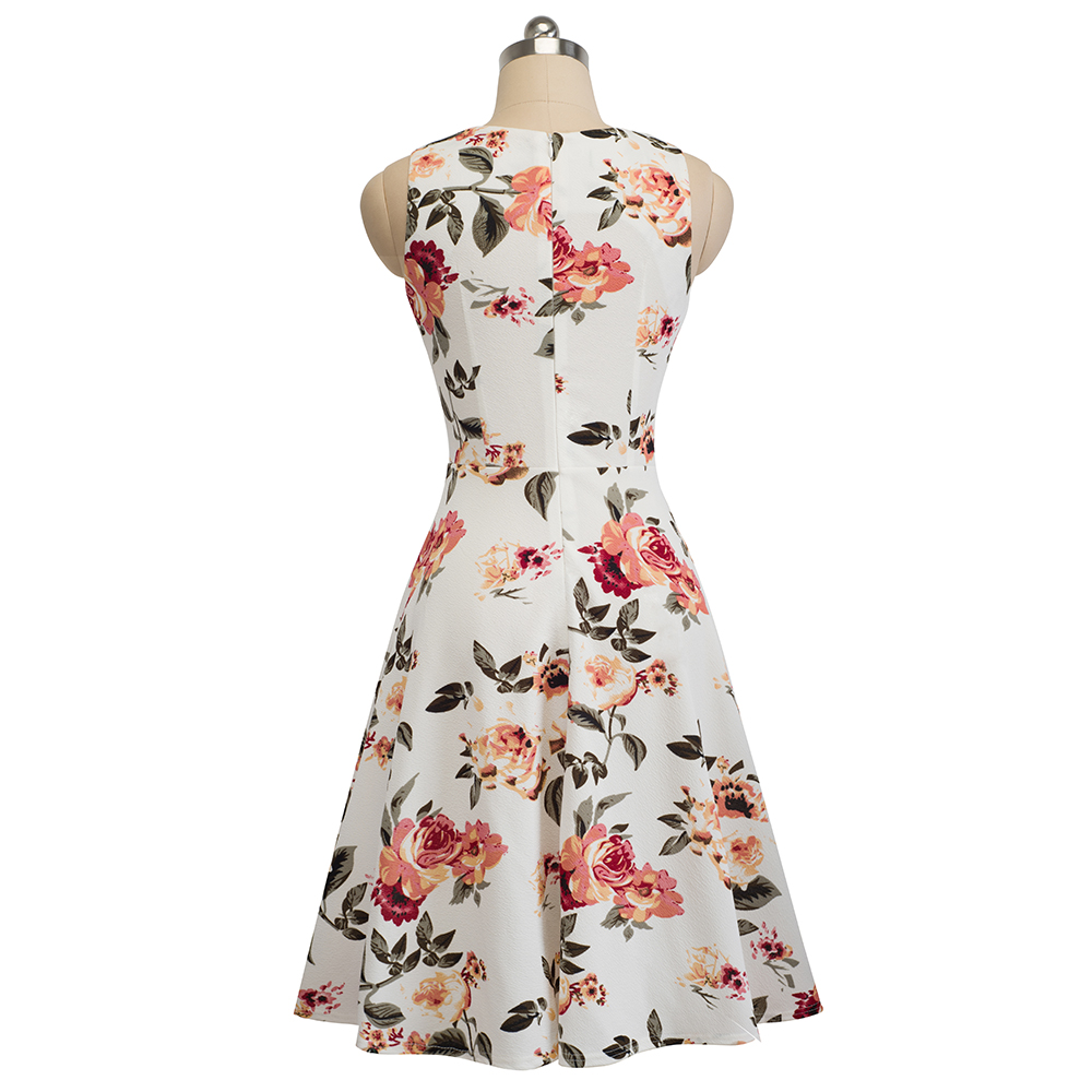 Nice-forever Vintage Elegant Embroidery Floral Lace Patchwork vestidos A-Line Pinup Business Women Party Flare Swing Dress A079 70
