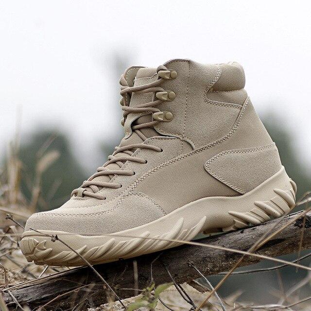 Erkekler Savaş Botları Çöl Taktik Botları Erkek Açık Ayakkabı seyahat ayakkabısı Botları Aşınma kaymaz Su Geçirmez Erkek Botları Siyah Botas