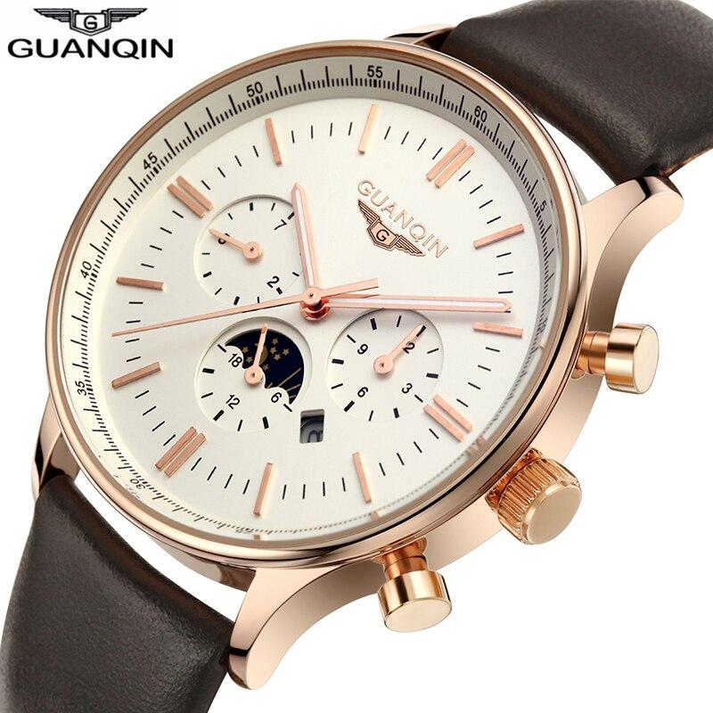 Top Brand GuanQin Fashion Mens Watches Quartz Watch men Multifunction Male Wristwatch 100m waterproof Swimming Calendar