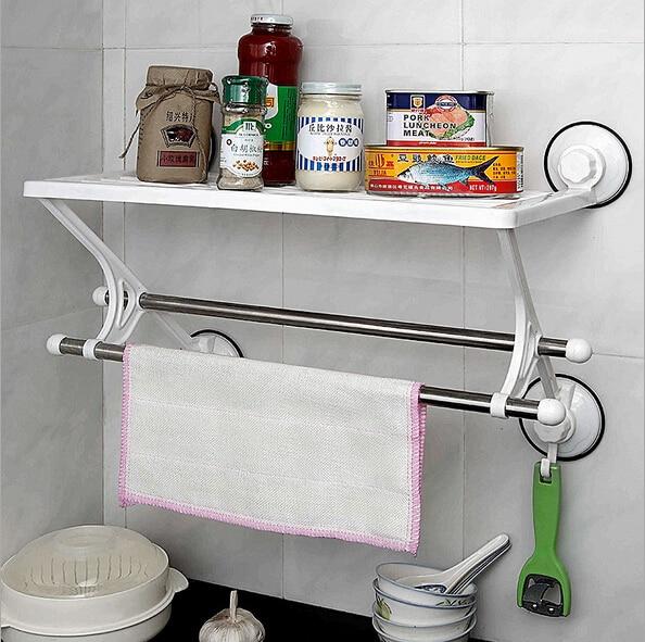 47CM Super Suction Litter Wall Mounted Single Tier Towel Shelf Dengan Double Tuil Bar Untuk Aksesori Aksesori Bilik Mandi Organizador