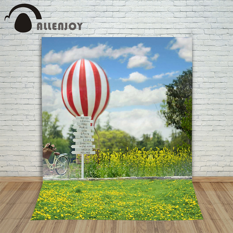 6.5ftx10ft Allenjoy Photo Background hot air balloon bicycle lawn wedding Photography backdrops Studio For baby Interior Photos ao058m 2m hot selling inflatable advertising helium balloon ball pvc helium balioon inflatable sphere sky balloon for sale