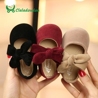 Claladoudou 11 5 13 5CM Toddler Girls Shoes Black Suede Big Bowtie Princess Shoes Red Baby