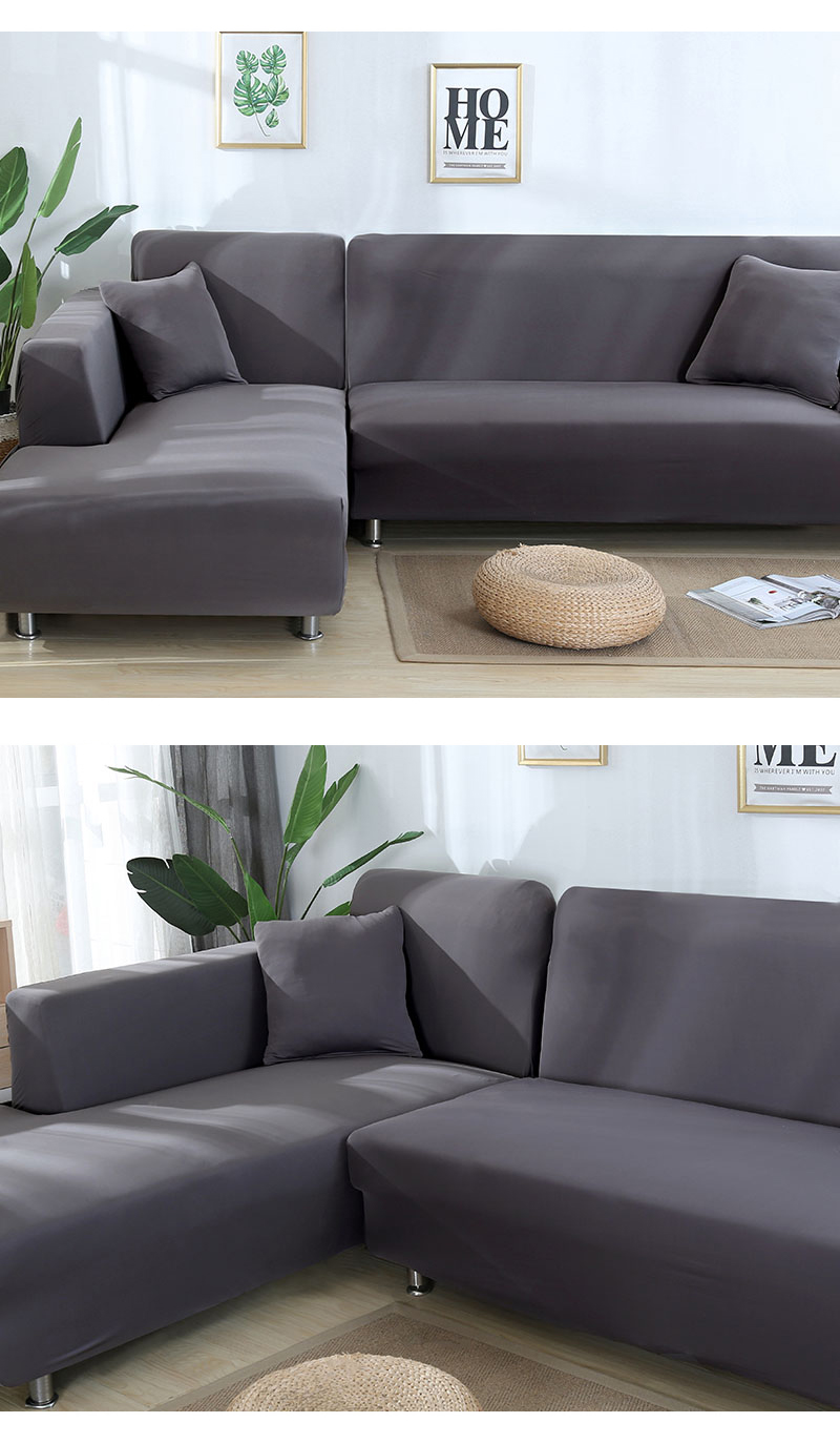 L shaped Solid Sofa Cover with Elastic for Sectional and Corner Sofa with Deep Gap Suitable in Living Room and Office 12