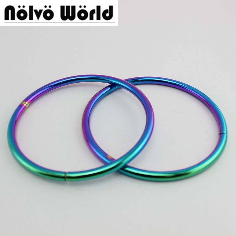 10pcs Rainbow Inside 89mm 3.5 Inch Big Circle Rings For Women Bags Handbags Handle Connect