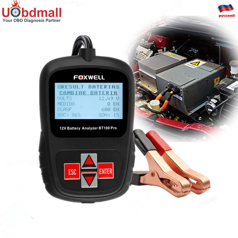 Foxwell BT100 Pro Automotive Battery Tester 12V Digital Battery Analyzer Voltmeter Capacity Tester for Flooded AGM GEL Battery  em281 mini 12v 24v automotive battery tester lcd bar indication battery load tester electrical all sun em281 battery analyzer