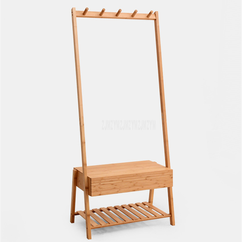Articles en bambou naturel plancher coin cintre étagère chambre salon robe chapeau stockage Rack chaussures tissu organisateur stockage Rack