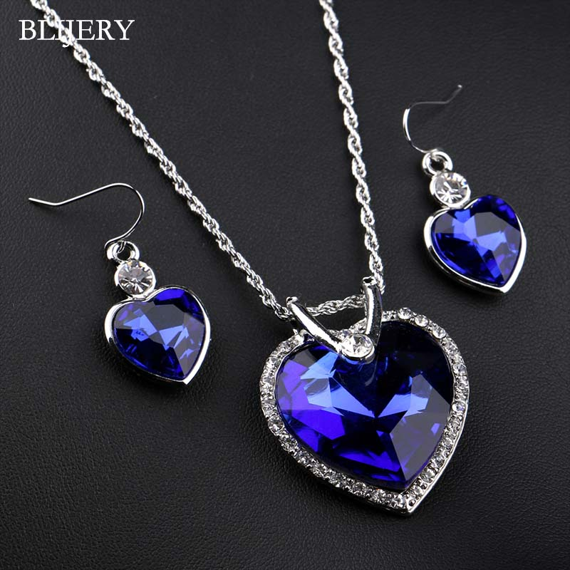 BLIJERY Fashion Women Wedding Accessories Silver Plated Royal Blue Crystal Heart Pendant Necklace Earrings Bridal Jewelry Sets