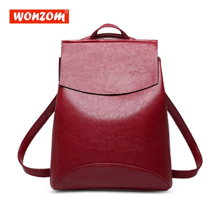 Wonzom Women Backpack Female School Shoulder Bag Bagpack High Quality Youth Leather Waterproof Backpacks For Teenage Girls