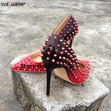 YUE JABON Giày Mới Spike Gót Màu Đỏ Bằng Sáng Chế Da Stiletto Bơm giày Đinh Tán Studs Lady Mỏng Cao Gót Giày Bên Váy Giày Giày