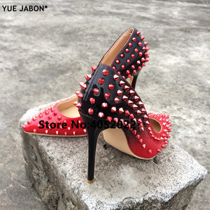 Image 1 - YUE JABON New Shoes Spike Heels Red Patent Leather Stiletto Pumps Shoes Rivets Studs Lady Thin High Heels Shoes Party Dress Shoe