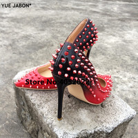 YUE JABON New Shoes Spike Heels Red Patent Leather Stiletto Pumps Shoes Rivets Studs Lady Thin High Heels Shoes Party Dress Shoe