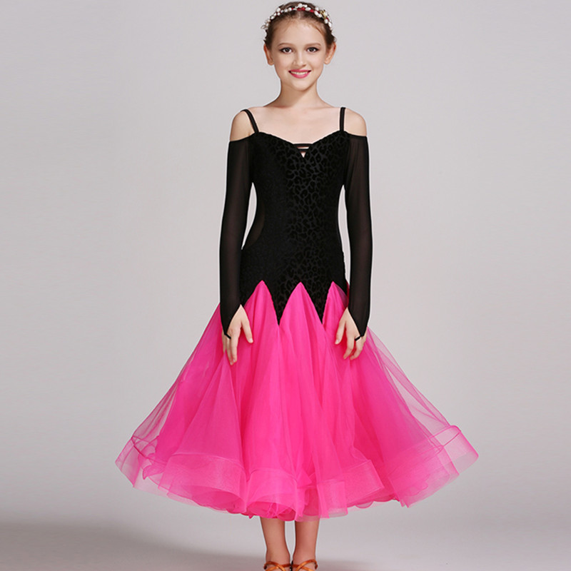 d3b36a861bf Rosa niñas trajes de baile moderno niños vestidos de baile de salón  estándar salón de baile competencia vestido de danza estándar en Salón de  baile de La ...