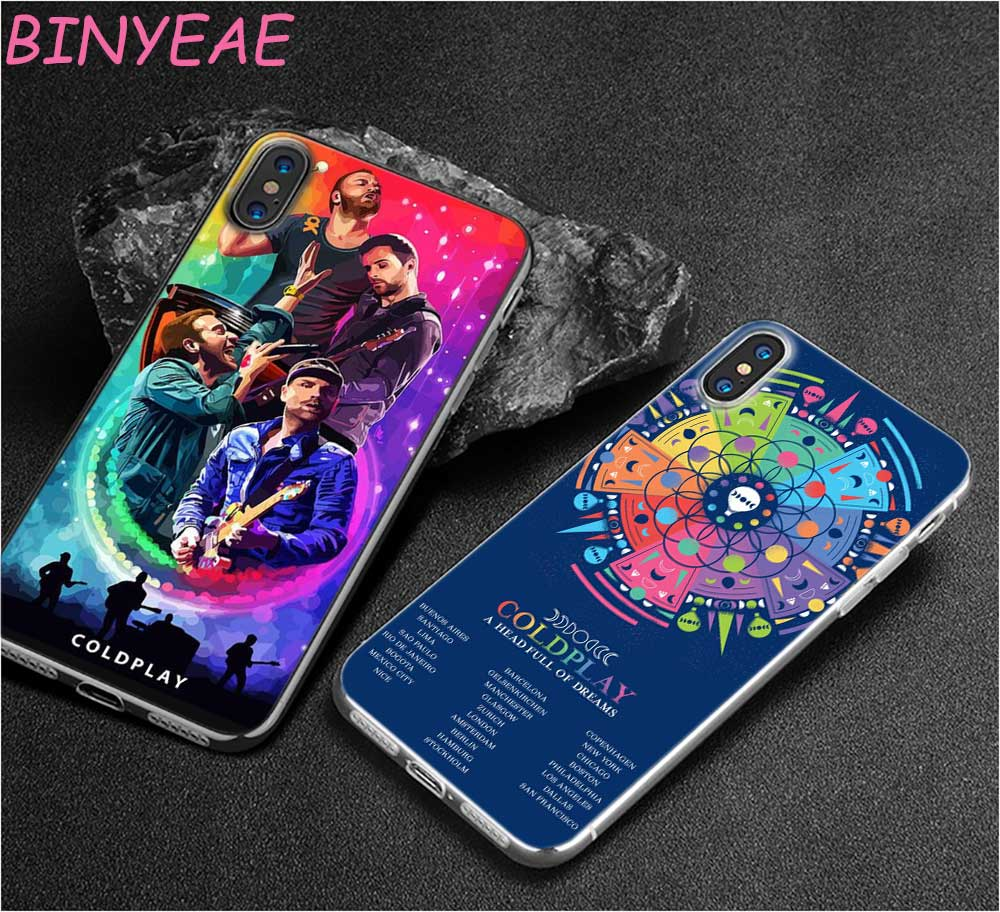 BINYEAE Coldplay A Head Full of Dreams Style Clear Soft TPU Phone Cases for Apple iPhone X 8 7 6 6s Plus 5 5S SE 5C