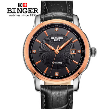 2017 Binger Wristwatch new design men's luxury fashion brand watches mens leather high-end automatic date rose gold watch