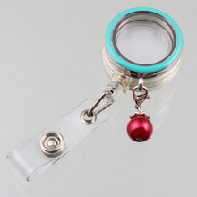 9 Colors 30mm Enamel Floating Locket Pendant Stainless Steel Glass Locket With Retractable ID Badge Holders And Red Pearl(China)