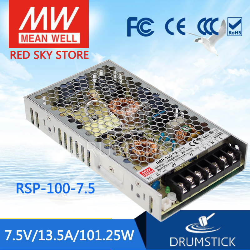 100% Original MEAN WELL RSP-100-7.5 7.5V 13.5A meanwell RSP-100 7.5V 101.25W Single Output with PFC Function Power Supply 100
