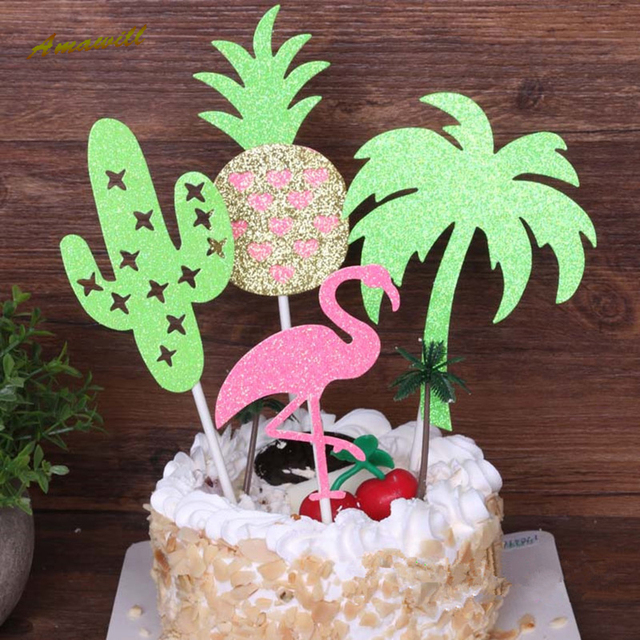 Amawill 4pc Hawaii Pineapple Flamingo Cupcake Toppers Baby Shower